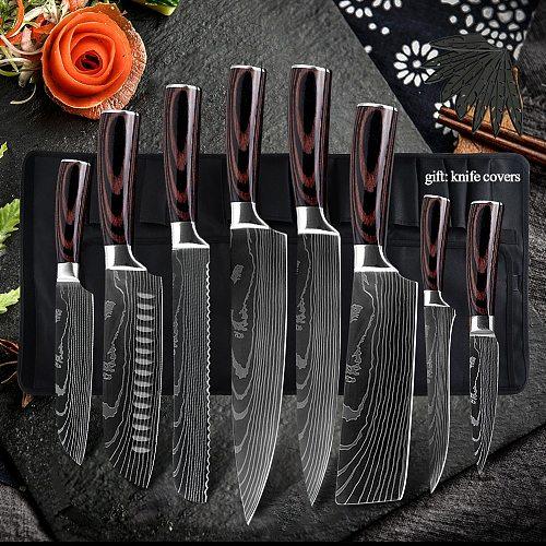 Damask Kitchen Knife Set Stainless Steel Damascus Pattern Chef Knife Sets Slicing Santoku Utility Paring Kitchen Cooking Tool