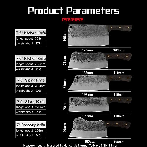 7'' 7.5'' inch Handmade Forged Cleaver Knives Set Slaughter Kitchen Chef Knife Bone Slicer Filleting Knife Tools Fish Meat