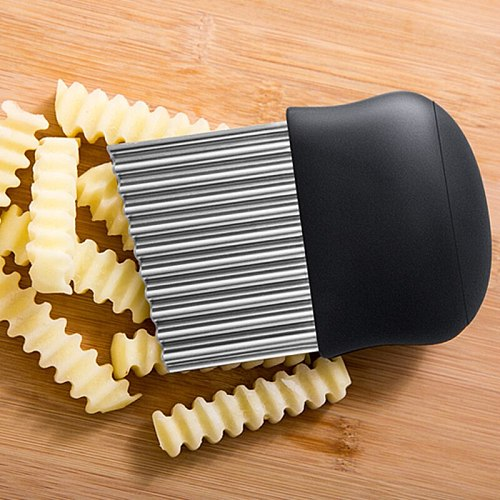 Potato Wavy Cutter Stainless Steel Potato Slicer French Fry Cutter Knife Vegetable Cutter Shredder Cutting Tools Kitchen Gadgets