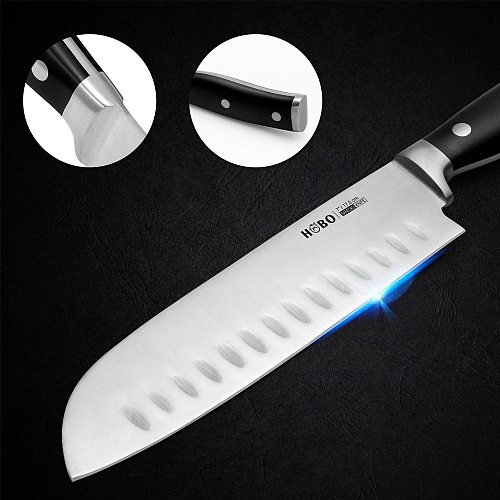 2PCS 7/8 Inch Kitchen Knife HOBO Chef Knife Professional Knife Stainless Steel Ultra Sharp Blade Cooking Knife Tool in Gift Box