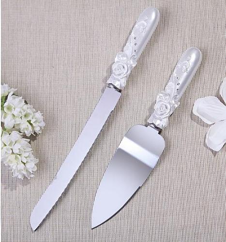 Elegant Resin With Rose Flower  Cake Knife & Shovel Set