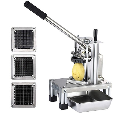 Commercial Vegetable Sliicer Manual Cutting Machine With 1/4  1/2  3/8 Stainless Steel Blades Potato Chipper French Fry Cutter