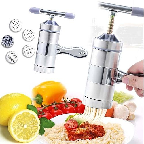 Household Stainless Steel Manual Pasta Machine Hand Pressure Noodle Machine Noodle Maker With 5 Different Molds Noodle Makers