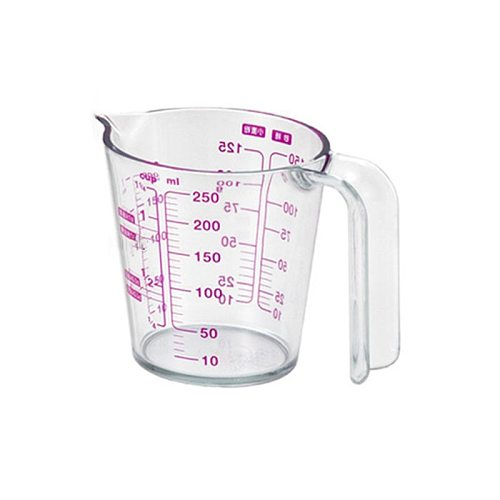 OOTDTY 250/500ml Graduated Clear Plastic Measuring Cup for Jug Pour Spout Liquid Measurement Container Kitchen Supplies