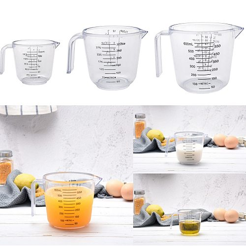 150ML/300ML/600ML High Quality Plastic Measuring Cup Clear Scale Measuring Cup for Baking Beaker Liquid Measure Jug Container