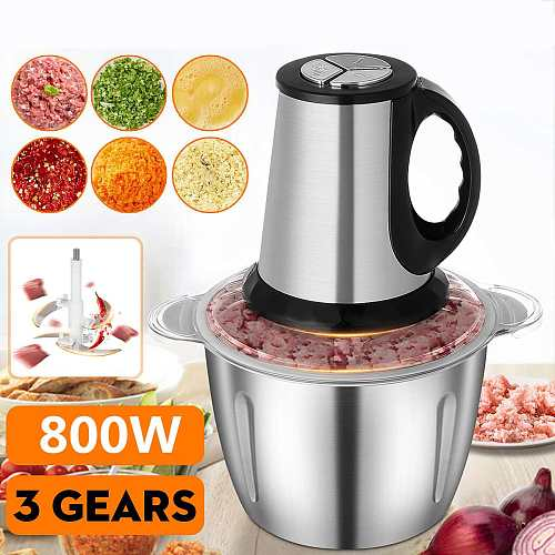 800W 3L Stainless Steel Meat Grinder 3 Speed Electric Chopper Meat Grinder Household Automatic Mincing Machine Food Processor