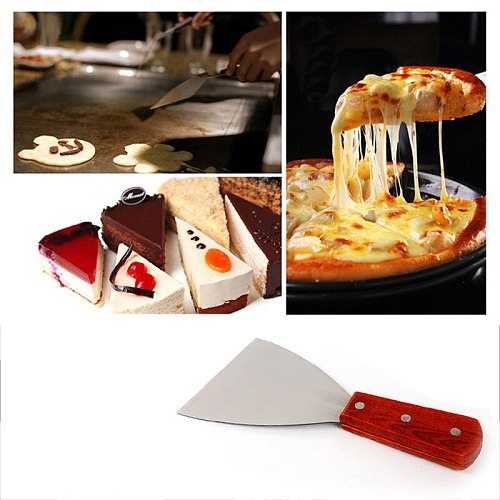 Stainless Steel Blade Grill Slant Edge Scraper Wooden Handle Food Service Beef Chicken Barbecue Cooking Tools YG