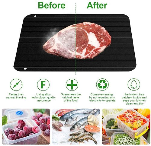 Meat Defrosting Tray Thaw Fast Defrost Thawing Tray No Microwave Electricity Rapid Thaw Board Plate Quick Defrosting Frozen Food