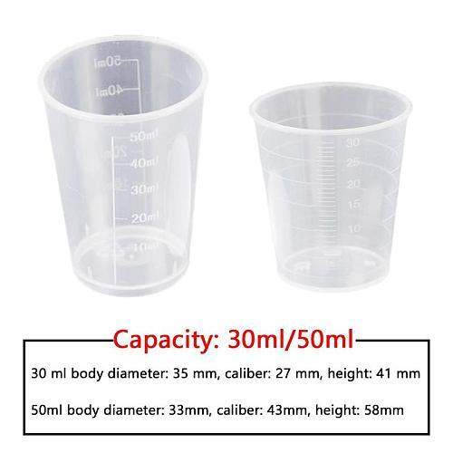 10Pcs 30/50ml Medicine Measuring Measure Cups With White Lids Cap Clear Container Transparent Plastic Measure Cups