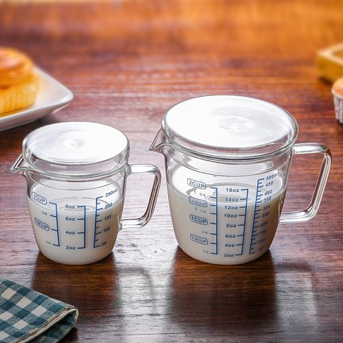 2021 New 250ml 500ml Heat-Resisting Glass Measuring Cup Milk Scale Microwave Measure Jug With Lid Wholesale