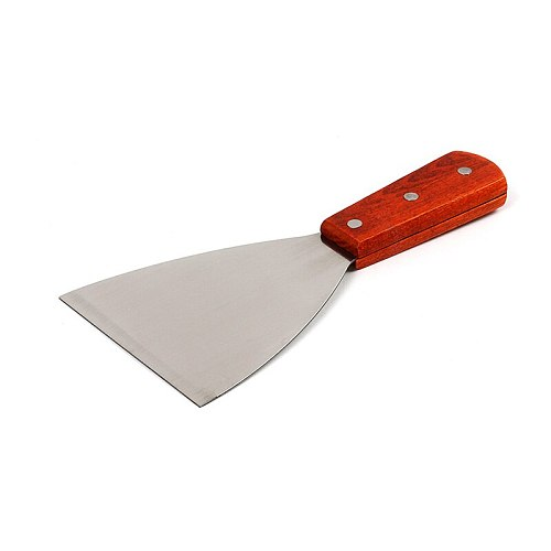 Stainless Steel Blade Grill Slant Edge Scraper Wooden Handle Food Service Beef Chicken Barbecue Cooking Tools MD7