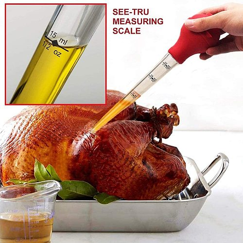 4 Piece Set Of Turkey Needle Silicone Chicken Pump Seasoning Pump Barbecue Tool Dripping Seasoning Tube With Brush Chicken Pump