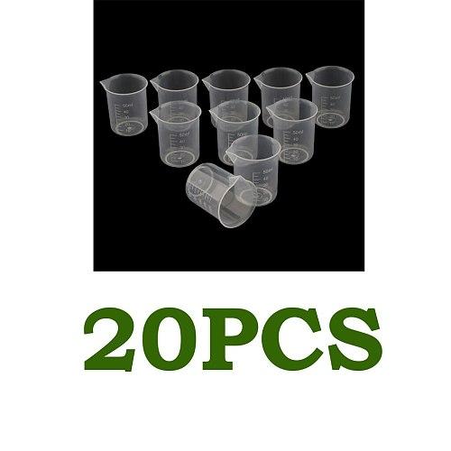 20 Pcs Food Grade Plastic Clear Graduated Measuring Cup Beaker Jug Container for Lab Kitchen Liquid Food Oil Measurement, 50ml