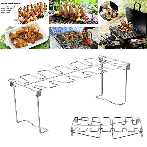 12 Holes Bbq Chicken Wing Leg Rack For Grill Smoker Oven Stainless Steel Vertical Roaster Stand In Bbq Barbecue Accessories @40