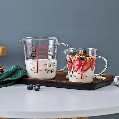 Glass Measuring Cup Jug Heat Resistant Glass Cup Measure Jug Creamer Scale Cup Glass Cup In Stock
