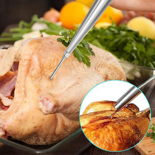 Food-grade Safe Stainless Steel Meat Baster Syringe With Cleaning Brush And Marinade Needles With Injector