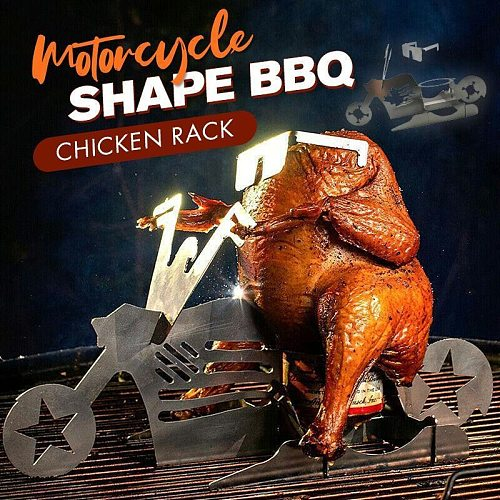 Portable Motorcycle Shape BBQ Chicken Rack Family BBQ Stainless Steel Rack Roaster Stand