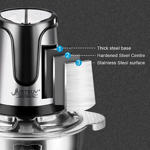 Factory price 500W 2 Speed Stainless steel 2L Capacity Electric Chopper Meat Grinder Mincer Food Processor Slicer