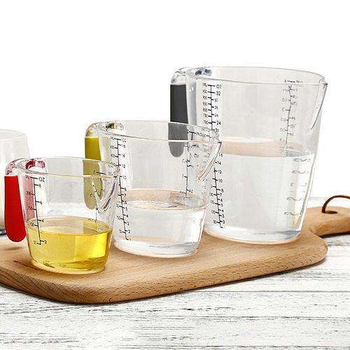 3 Piece Set Measuring Cup BPA Free Liquid Nesting Stackable Measuring Cups with Ml and Oz Measurement Tool