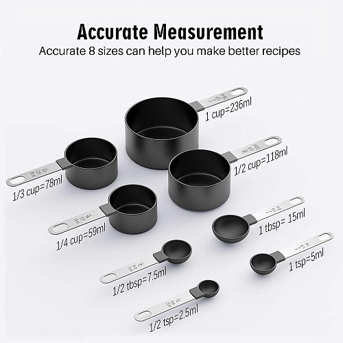 Measuring Cup and Spoon Set-Premium 8 pieces With Metal Handles for Liquids and Solids For Kitchen