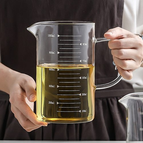 Large Glass Measuring Cup Borosilicate Glass Kitchen Liquid Measuring Jug Glass Cup with Measurement Scale Kitchen Accessories