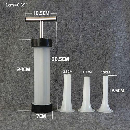 Manual Sausage Maker Meat Stuffer Syringe Filler Hand Operated Machine 3pcs Tube Dropshipping