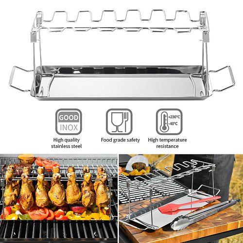 BBQ Chicken Leg Wing Rack 14 Slots Stainless Steel Roaster Stand with Drip Tray for Smoker Grill Oven Dishwasher Safe Non-Stick
