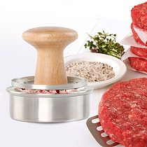 3-Inch Stainless Steel Burger Press Hamburger Maker with Wood Handle,  for BBQ & Perfect Patties, Easy to Operate, Round