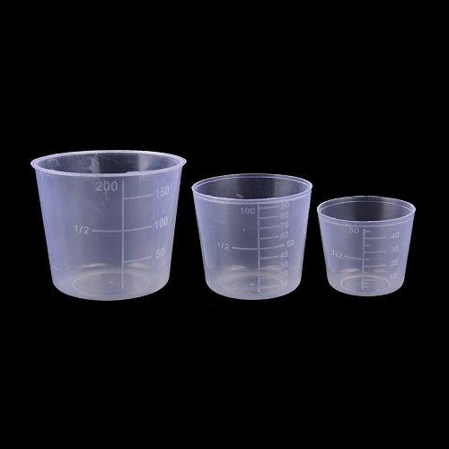 3PCS/Set 200/100/50ml Measuring Cup Labs Plastic Graduated Beakers Kitchen Tools Accessories
