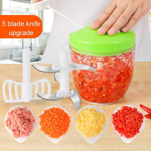 VOCORY 900ML/600ML Powerful Meat Grinder Hand-power Food Chopper Mincer Mixer Blender to Chop Meat Fruit Vegetable Nuts Herbs