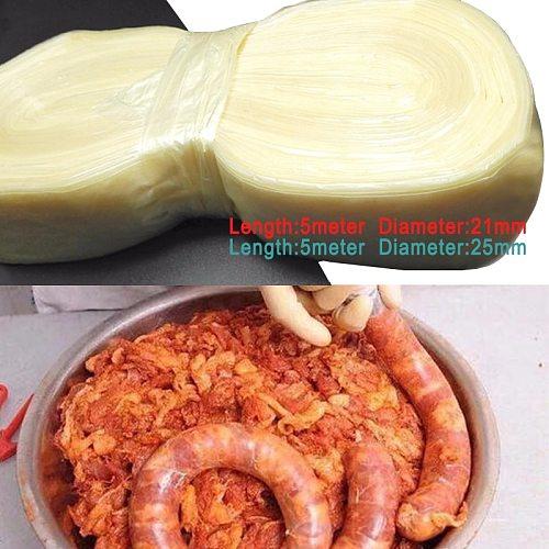 3/5 Meters 21/25mm Dry Collagen Sausage Casing Tube Meat Sausages Casing For Sausage Maker Ham Tools Sausage Filling Tools