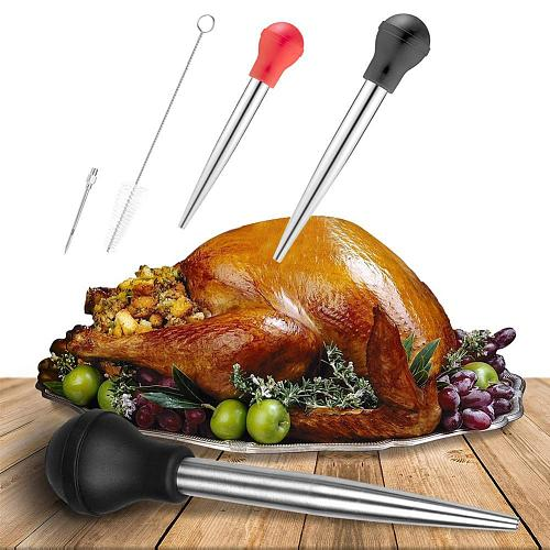 Food grade Silicone Pump Turkey Baster Injector Flavor Needle Cleaning Brush Seasoning Tool kitchen Accessories