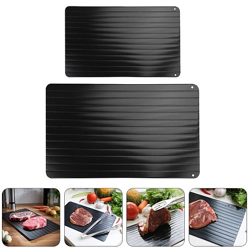 2Pcs Quick Thawing Plates Fast Defrosting Trays Meat Defrosting Plates (Black)