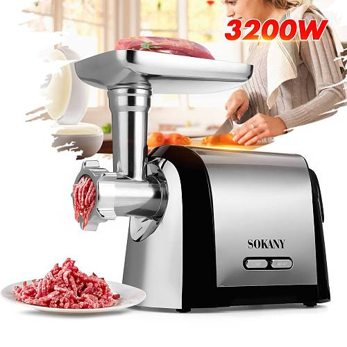 3200W Electric Meat Grinders Stainless Steel Powerful Electric Grinder Sausage Stuffer Meat Mincer Home Kitchen Food Processor