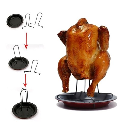 Non-stick Chicken Roaster Rack Carbon Steel Dish Barbecue Fork Bake Pan Bbq Tools Accessories 2021 New Cooking Tools Outdoor