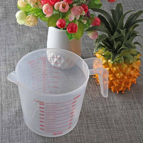 1PCS 1000ml Clear Plastic Measuring Cup Jug Pour Spout Kitchen Tools Bakeware Thickened Cup Handle Container Graduated Jug