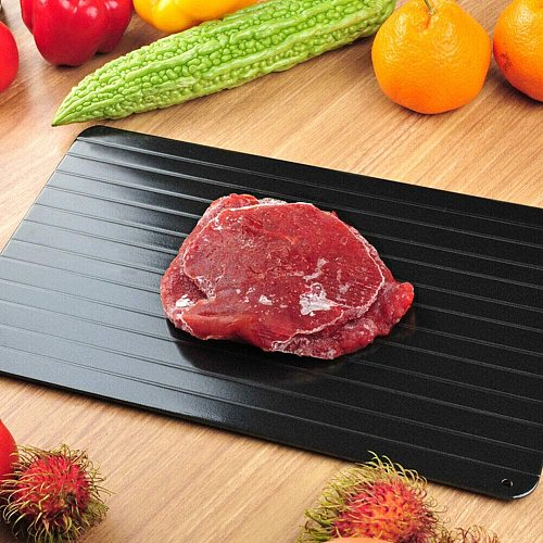29.3x20.8cm Kitchen Defrosting Trays Frozen Food Faster Safer Food Plate With Dishwashing Brush+Dust Cover+Silicone Feet