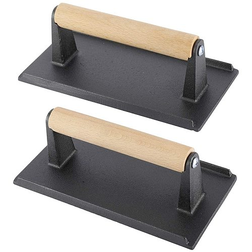 Heavy Duty Steak and Burger Press with Wooden Handle for Grills, Griddles and Flattops Perfect Gadget for Bacon,Paninis