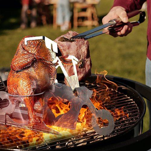 HellChicken Stand Roaster Chicken Rack Beer Can Holder Motorcycle BBQ Stainless Steel Rack Roast Chicken Rack Grill Tool