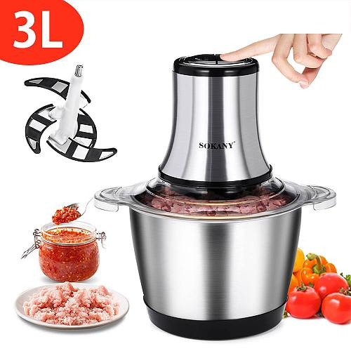 800W 3L Electric Meat Mixer blender Grinder 2Speed Stainless Steel Electric Chopper Automatic Mincing Machine Quiet Food blender