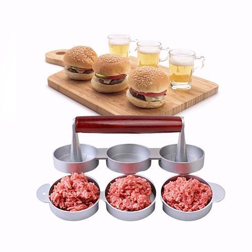 Hamburger Maker Triple Burger Press Round Shape Non-Stick Chef Cutlets Hamburger Meat Beef Grill Burger Press Patty Maker Mold