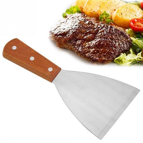 Stainless Steel Non-Stick Heat-Resistant BBQ Grill Beafsteak Spatula Turner Cooking Tool BBQ grill spatula New