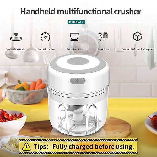 Mini Meat Grinder Tools USB Rechargeable Garlic Chopper with Blade  Portable Wireless Electric Food Chopper Kitchen Accessories