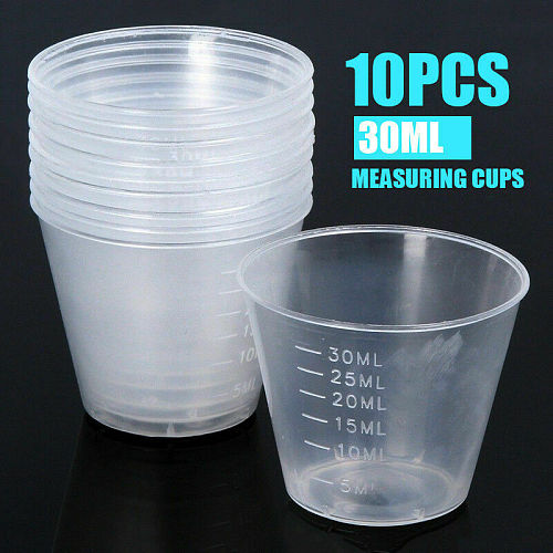 10x 30ml Measuring Cups Plastic Disposable Liquid Container Home Kitchen Tool