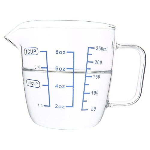 Clear Heat-resistant Thick Glass Measuring Cup Microwave Jug For Measuring Wet And Dry Ingredients With 3 Scales