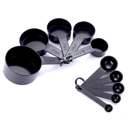 3Color Plastic Measuring Cups 10pcs/lot Measuring Spoon Kitchen Tools Measuring Set Tools For Baking Coffee Tea