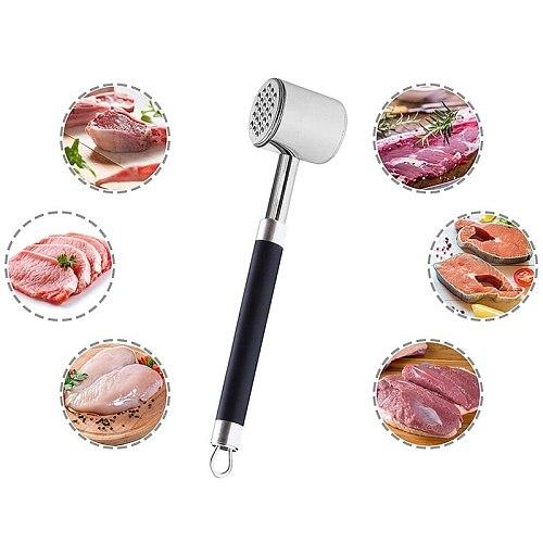 Meat Tenderizer Mallet Hammer Pounder Dual Sided Stainless Steel Non-Slip Grip Tool for Tenderizing Flattening