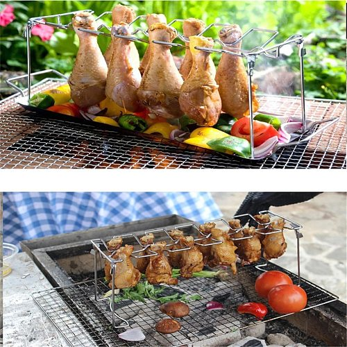 Chicken Wing Leg Rack For Grill Smoker Oven Stainless Steel Vertical Roaster Stand In Bbq Barbecue Accessories Grill 12 Hole#g30
