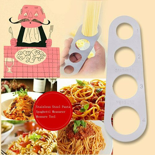 Portable Stainless Steel Pasta Spaghetti Measurer Four-Hole Measure Tool Kitchen Home Restaurant Cooking Gadget