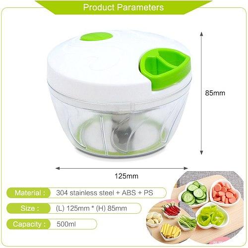 500/900ML Powerful Meat Grinder Hand-power Food Chopper Mincer Mixer Blender to Chop Meat Fruit Vegetable Nuts Shredders